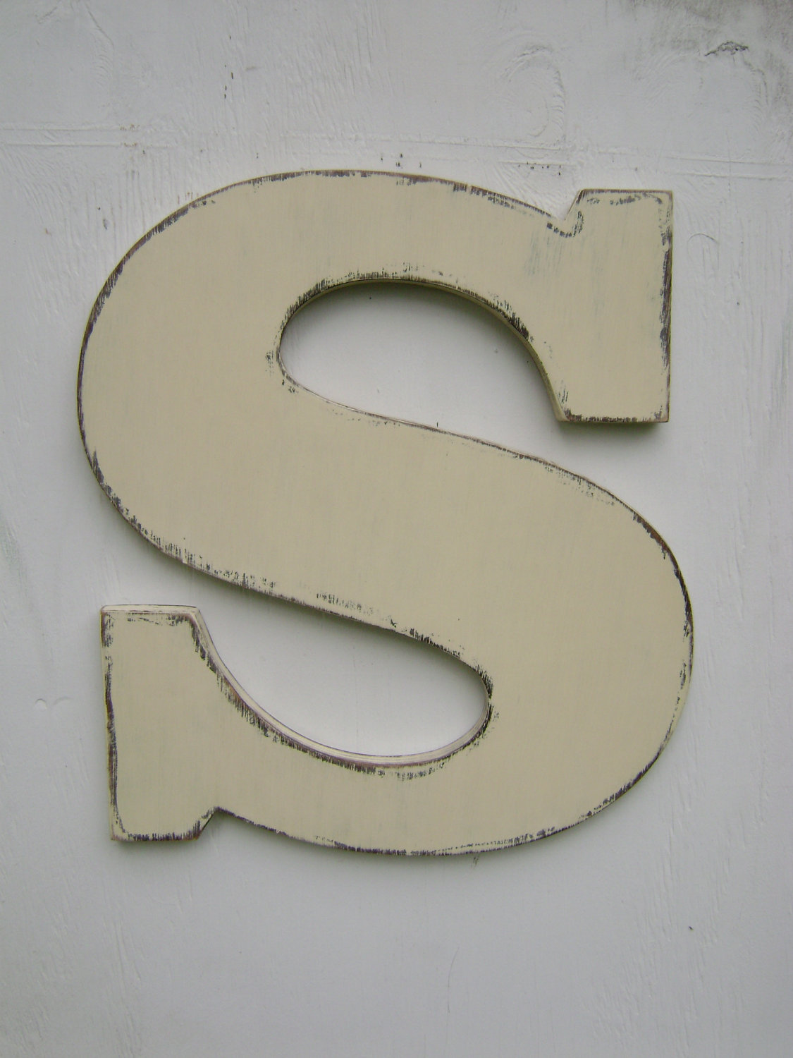 3 d large wooden letter s rustic decor vintage style 18 for Large letter k wall decor