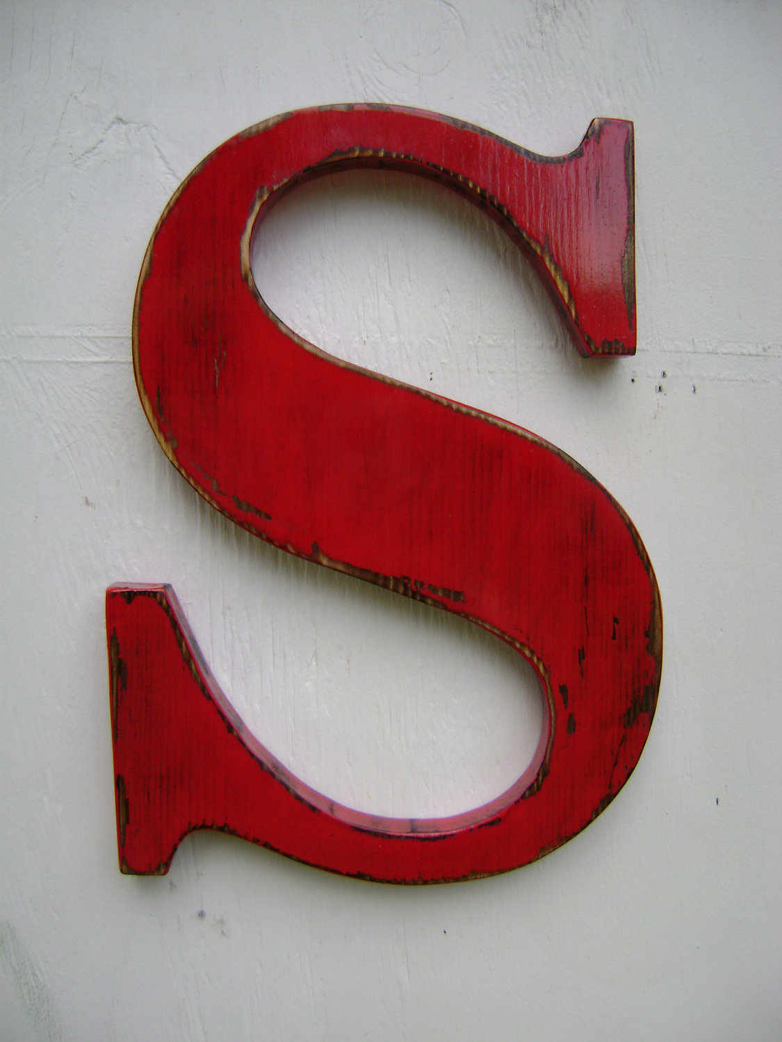 wooden letter s rustic shabby chic letterdistressed painted tru red12 tall